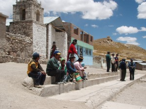 Peruvians on steps